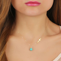 "Gold sideways cross necklace, turquoise necklace, assymetrical necklace, turquoise jewelry, silver cross, gold filled pendant, ""Gaea"""