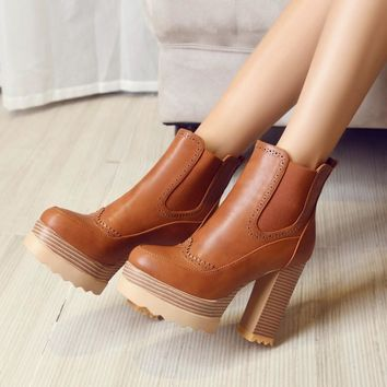 Autumn and Winter High Heels Platform Chunky Heeled Ankle Boots Shoes Woman