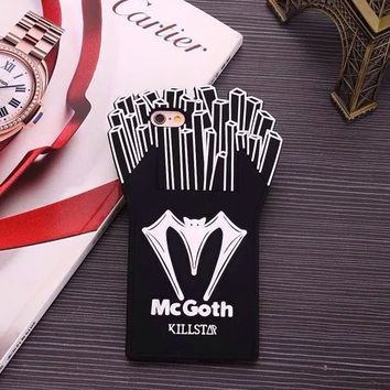 McGoth Killstar Apple iPhone 5/5S/SE Soft Silicone Material Black and White Color Bat Chips Design (For iPhone 5/5s/se)