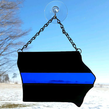 Your State Thin Blue Line Stained Glass Sun Catcher,  Police Officer Gift,  Law Enforcement Gift, Sheriff Deputy Gift, State Patrol Gift,