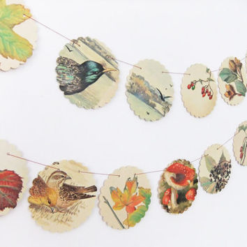Autumn bunting - upcycled bunting made from the Country Diary of an Edwardian Lady