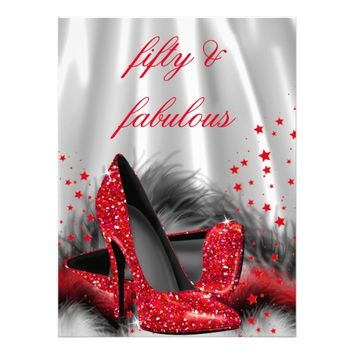 Fabulous 50 Red High Heels Black Silver Birthday 6.5x8.75 Paper Invitation Card