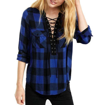 Blue Plaid Deep V Neck Women    Tops  Fashion Blouse Women Shirts Lacing Loose Casual Ladies Blouses #23 GS