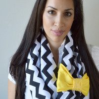 Yellow Bow Chevron Infinity scarf, Jersey knit black chevron scarf, Promo code: WANELO10 for 10% off of entire purchase