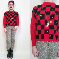 90s Clothing Red Sweater Red and Black Checkered Sweater Jewel Sweater Jem Sweater Tacky Sweater Clueless 90s Sweater Size Small Medium