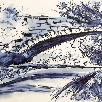 Stone Bridge Pen & Ink Drawing Study