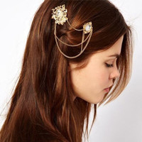 Fashion Hollow Out Pattern Crystal Chain Tassel Side Clip Hairpin