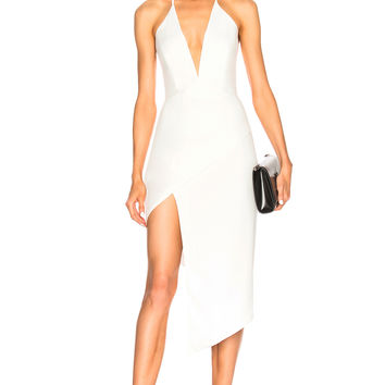 Michelle Mason Asymmetrical Plunge Dress in Ivory | FWRD