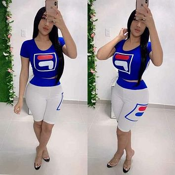 Champion new women's sports letter print short-sleeved suit two-piece Blue