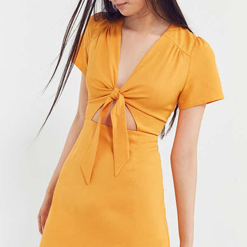 Kimchi Blue Bow-Front Cutout A-Line Mini Dress | Urban Outfitters