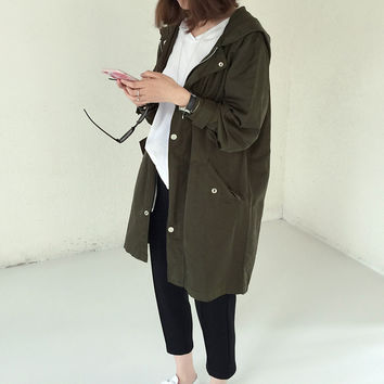 Winter Korean Women Windbreaker Harajuku 2016 Women Letters Loose Casual Middle Long Padded Women Trench Clothing A414