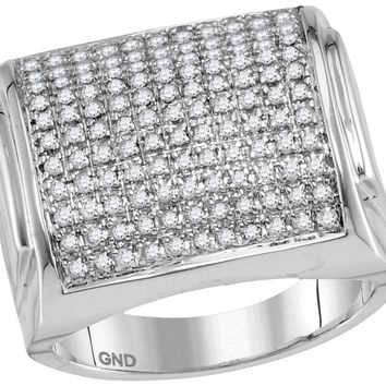 10kt White Gold Womens Round Pave-set Diamond Domed Cluster Ring 1.00 Cttw 91367