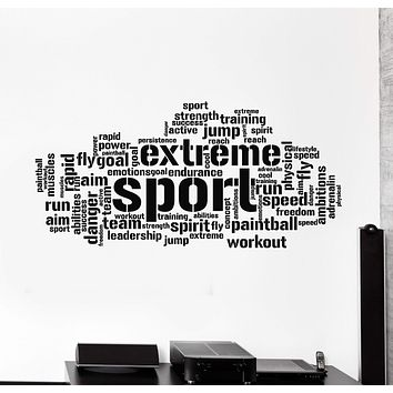 Vinyl Wall Decal Extreme Sport Words Cloud Workout Training Stickers Mural Unique Gift (ig5019)