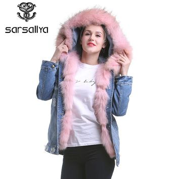 SARSALLYA real fur denim jacket women's raccoon hooded fur coat parkas outwear long detachable lining winter jacket brand style