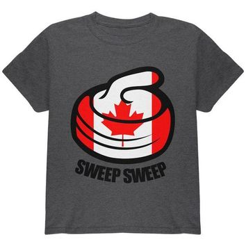 DCCKU3R Winter Sports Flag Curling Sweep Sweep Canada Youth T Shirt