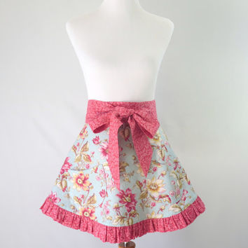 Womens Floral Half Apron, Blue and Pink Flowered, Full Retro Skirt, Ruffled, Fully Lined, Bridal Shower Gift for Her, Wife, Girlfriend, Mom