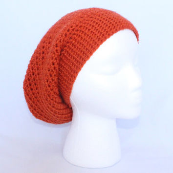 Crochet Slouchy Hat in Orange