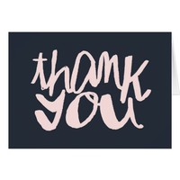 Navy Blue and Pink Modern Type Thank You Notecard