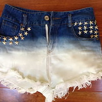 High Waisted star studded dip dyed Denim Ripped Shorts SUPER CUTE!