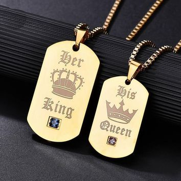 Cool 1pc Letter Couple Necklace Her King His Queen Tag Military Army Cards Jewelry Her King & His Queen Stainless Steel NecklaceAT_93_12
