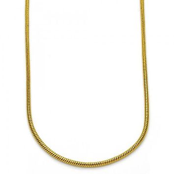 Gold Layered Basic Necklace, Rat Tail Design, Golden Tone