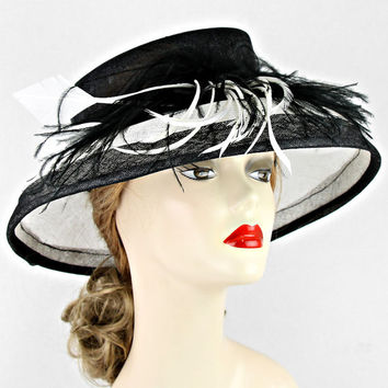 Black White Sinamay Flower Wedding Dress Hat Kentucky Derby Hat Womens Wide Brim Church Sun Hat New