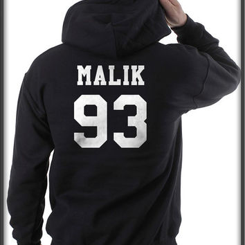Malik 93 printed On Back White ink Pullover Hoodie S to 3XL