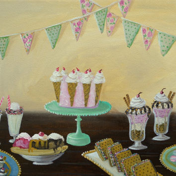 Still Life Painting, Original Oil Painting, Cake Painting, Ice Cream Social, Pastles, Desserts, Kitchen Wall Art, 9x12 Stretched Canvas