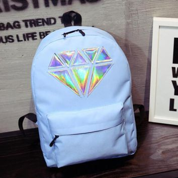 Hot Selling Women Men Casual 5Colors Laser Diamond Canvas Bags Backpacks High School Student Bag College Wind Student Bags Rucks