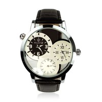 ZLYC Unisex 3 Small Dials Leather Band Watches, Dual Time Zone Wristwatch, Quartz Analog Dress Watch with 30M 3ATM Water Resistant, Round Stainless Steel Case, Black