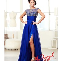 SALE! Mac Duggal 2014 Prom Dresses - Royal Chiffon & Rhinestone Cap Sleeve Gown