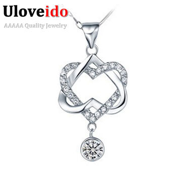 Heart White Purple Crystal Choker Necklace For Women Valentine's Day Pendants Best Friends Gifts Colares Femininos Ulove N576