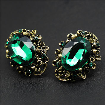 Romantic Bronze Plated Crystal Drop Earrings For Women Ipear1105
