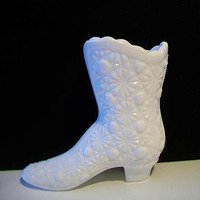 Fenton Milk Glass Shoe Boot Daisy And Button Pattern Vintage Collectible Victorian Style Vase Toothpick Holder Cottage Chic