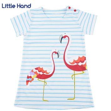 Kids Girls Flamingo A-line Dress Bady Girl Mini Dress Cotton Casual Short Sleeve Striped Print Dress Kid Robe Children Vestidos