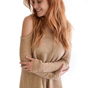 Soft Open Shoulder Sweater In Camel