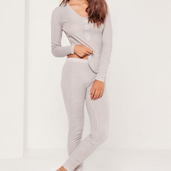 Missguided - Grey Ribbed Top & Leggings Pajama Set