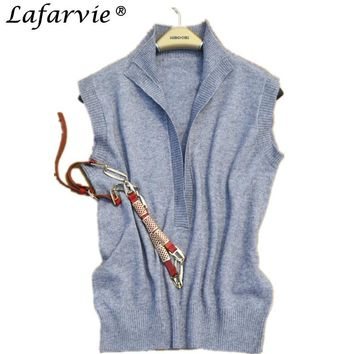 Lafarvie Fashion Cashmere Blended Sweater Women Vest Shrug Pullover Spring&Autumn Turn-down Collar Sleeveless Pull Female Jumper