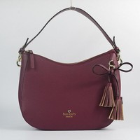 Newest Kate Spade Fashion Women Shopping Leather Tote Handbag Shoulder Bag Color Wine Red