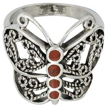 Sterling Silver Filigree Carnelian Inlay Butterfly Ring