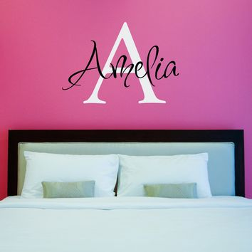 Initial & Name Wall Decal - Girls Name Decal - Initial Wall Sticker - Large (3)