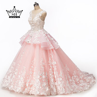 Robe De Soiree 2017 Sheer Pink Ball Gown Evening Dresses Crystal Beaded Lace Formal Dress Party Handmade Flowers Vestidos