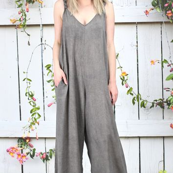 Elan: Oversized Wide Leg Jumpsuit {Charcoal}