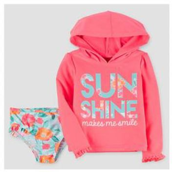Baby Girls' Hooded Rash Guard & Bottoms Set Pink Floral - Just One You™ Made by Carter's®
