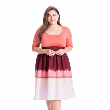 Chicloth Round Neck Half Sleeve Gradient Color Plus Size Dress