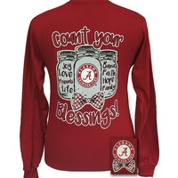 Alabama Crimson Tide Blessings Mason Jar Bow Girlie Long Sleeve T Shirt