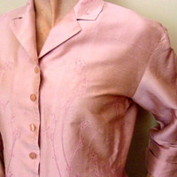 Embroidered Silk Blouse Shirt, Light Peach, SILKLAND COLLECTION, L Size, Vintage