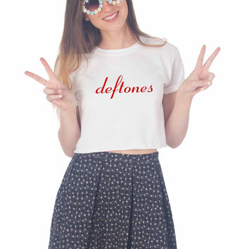 Deftones Logo For Womens Crop Shirt ***