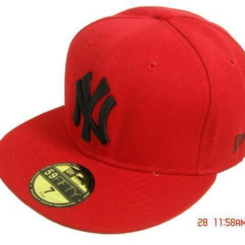 ESBON New York Yankees New Era MLB Authentic Collection 59FIFTY Hat Red-Black