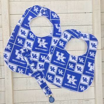 Kentucky Wildcats Bib & Pacifier Clip Set ~ Baby Gift Reversible BIB and Pacifier Clip ~ Grow with Me ~ Ring or Mam ~ UK Bib ~ Choose Size